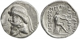 PARTHIAN KINGDOM: Mithradates I, c. 171-138 BC, AR drachm (3.46g), Shore-24 ff. Sell-11, long beard // 3-line legend, bold strike, reverse slightly do...