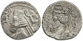 PARTHIAN KINGDOM: Phraatakes & Musa, 2 BC - AD 4, AR drachm (3.76g), Ekbatana, Shore-324. Sell-58.9, king's bust left, two figures of Nike offering di...