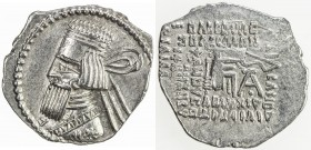 PARTHIAN KINGDOM: Artabanos IV, 10-38 AD, AR drachm (3.33g), Ecbatana, Sell-63.6, diademed bust left, long square beard // archer seated right on thro...