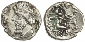 PARTHIAN KINGDOM: Vologases I, AD 51-78, AR diobol (1.49g), Shore-379/380, king's bust left, medium beard // archer, blundered legend around, naming t...