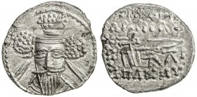 PARTHIAN KINGDOM: Vologases V, AD 191-208, AR drachm (3.54g), Shore-448. Sell-86.3, facing bust, hair tied in 3 bunches // Archer seated, ruler's name...