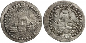 SASANIAN KINGDOM: Ardashir, as Artaxerxes of Persis, ca. 203-224, AR drachm (3.41g), G-1, bust of Ardashir facing, wearing Parthian-style tiara // bus...
