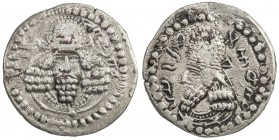SASANIAN KINGDOM: Ardashir, as Artaxerxes of Persis, ca. 203-224, AR drachm (3.50g), G-1, bust of Ardashir facing, wearing Parthian-style tiara // bus...