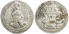 SASANIAN KINGDOM: Ardashir I, 224-241, AR drachm (4.17g), G-10, king's bust, wearing tight headdress with korymbos & earflaps // fire altar, fabulous ...