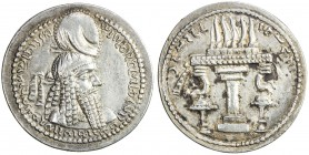 SASANIAN KINGDOM: Ardashir I, 224-241, AR drachm (4.34g), G-10, king's bust, wearing tight headdress with korymbos & earflaps // fire altar, lovely st...
