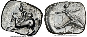 CALABRIA. Tarentum. Ca. 302-280 BC. AR stater or didrachm (21mm, 10h). NGC VF, flan flaw. Nikottas and Ey-, magistrates. Horseman dismounting from rea...