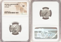 LUCANIA. Metapontum. Ca. 330-280 BC. AR stater (19mm, 7h). NGC VF. Head of Demeter right, crowned with grain; ΔAI before / META, grain ear with leaf t...