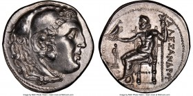 MACEDONIAN KINGDOM. Alexander III the Great (336-323 BC). AR tetradrachm (28mm, 17.12 gm, 12h). NGC Choice AU 5/5 - 5/3, Fine Style, brushed. Posthumo...