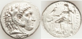 MACEDONIAN KINGDOM. Alexander III the Great (336-323 BC). AR tetradrachm (27mm, 16.85 gm, 12h). AU, graffito. Posthumous issue of Tarsus, ca. 323-317 ...