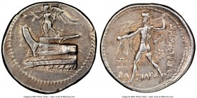 MACEDONIAN KINGDOM. Demetrius I Poliorcetes (306-283 BC). AR tetradrachm (27mm, 16.98 gm, 7h). NGC Choice VF 5/5 - 3/5, brushed. Pella, 294-293 BC. Ni...