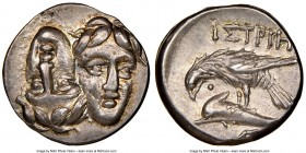 MOESIA. Istrus. Ca. 4th century BC. AR drachm (18mm, 11h). NGC Choice XF. Two facing male heads; the right inverted / IΣTPIH, sea-eagle left, grasping...