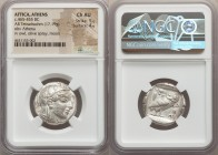 ATTICA. Athens. Ca. 465-455 BC. AR tetradrachm (25mm, 17.19 gm, 1h). NGC Choice AU 5/5 - 4/5. Head of Athena right, wearing crested Attic helmet ornam...