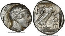 ATTICA. Athens. Ca. 440-404 BC. AR tetradrachm (25mm, 17.20 gm, 3h). NGC Choice AU 4/5 - 4/5. Mid-mass coinage issue. Head of Athena right, wearing cr...