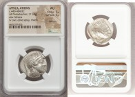ATTICA. Athens. Ca. 440-404 BC. AR tetradrachm (24mm, 17.18 gm, 2h). NGC AU 5/5 - 5/5, Full Crest. Mid-mass coinage issue. Head of Athena right, weari...