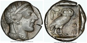 ATTICA. Athens. Ca. 440-404 BC. AR tetradrachm (24mm, 17.22 gm, 7h). NGC AU 5/5 - 4/5 Mid-mass coinage issue. Head of Athena right, wearing crested At...