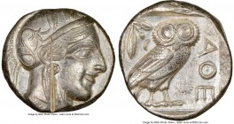 ATTICA. Athens. Ca. 440-404 BC. AR tetradrachm (23mm, 17.18 gm, 4h). NGC AU 5/5 - 2/5, test cut. Mid-mass coinage issue. Head of Athena right, wearing...