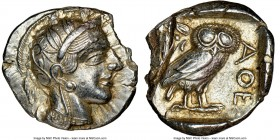 ATTICA. Athens. Ca. 440-404 BC. AR tetradrachm (25mm, 16.14 gm, 1h). NGC AU 4/5 - 2/5, test cut, edge chip. Mid-mass coinage issue. Head of Athena rig...