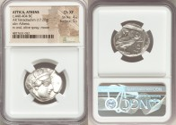 ATTICA. Athens. Ca. 440-404 BC. AR tetradrachm (25mm, 17.20 gm, 7h). NGC Choice XF 4/5 - 5/5. Mid-mass coinage issue. Head of Athena right, wearing cr...