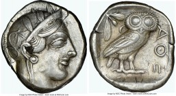 ATTICA. Athens. Ca. 440-404 BC. AR tetradrachm (25mm, 17.13 gm, 2h). NGC Choice XF 4/5 - 4/5, flan flaw. Mid-mass coinage issue. Head of Athena right,...
