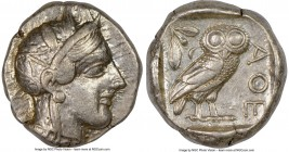 ATTICA. Athens. Ca. 440-404 BC. AR tetradrachm (24mm, 17.8 gm, 7h). NGC XF 5/5 - 4/5. Mid-mass coinage issue. Head of Athena right, wearing crested At...