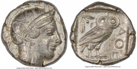 ATTICA. Athens. Ca. 440-404 BC. AR tetradrachm (24mm, 17.15 gm, 4h). NGC XF 5/5 - 4/5. Mid-mass coinage issue. Head of Athena right, wearing crested A...