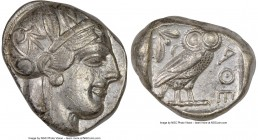 ATTICA. Athens. Ca. 440-404 BC. AR tetradrachm (25mm, 17.17 gm, 4h). NGC XF 4/5 - 4/5. Mid-mass coinage issue. Head of Athena right, wearing crested A...