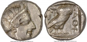 ATTICA. Athens. Ca. 440-404 BC. AR tetradrachm (22mm, 17.16 gm, 12h). NGC XF 4/5 - 3/5. Mid-mass coinage issue. Head of Athena right, wearing crested ...