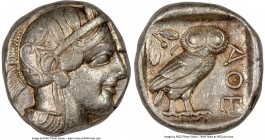 ATTICA. Athens. Ca. 440-404 BC. AR tetradrachm (25mm, 17.18 gm, 7h). NGC Choice VF 5/5 - 4/5. Mid-mass coinage issue. Head of Athena right, wearing cr...