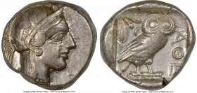 ATTICA. Athens. Ca. 440-404 BC. AR tetradrachm (24mm, 17.19 gm, 1h). NGC Choice VF 5/5 - 4/5. Mid-mass coinage issue. Head of Athena right, wearing cr...