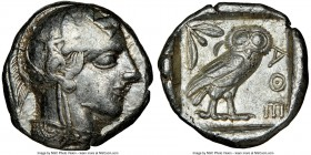 ATTICA. Athens. Ca. 440-404 BC. AR tetradrachm (24mm, 17.16 gm, 7h). NGC Choice VF 3/5 - 4/5. Mid-mass coinage issue. Head of Athena right, wearing cr...