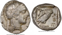 ATTICA. Athens. Ca. 440-404 BC. AR tetradrachm (25mm, 17.12 gm, 2h). NGC Choice VF 3/5 - 4/5. Mid-mass coinage issue. Head of Athena right, wearing cr...