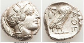 ATTICA. Athens. Ca. 440-404 BC. AR tetradrachm (24mm, 17.20 gm, 4h). AU. Mid-mass coinage issue. Head of Athena right, wearing crested Attic helmet or...