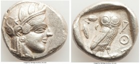 ATTICA. Athens. Ca. 440-404 BC. AR tetradrachm (25mm, 16.61 gm, 12h). XF. Mid-mass coinage issue. Head of Athena right, wearing crested Attic helmet o...