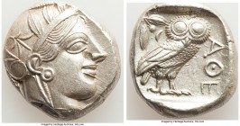 ATTICA. Athens. Ca. 440-404 BC. AR tetradrachm (23mm, 17.19 gm, 2h). AU. Mid-mass coinage issue. Head of Athena right, wearing crested Attic helmet or...