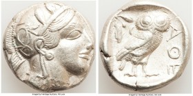 ATTICA. Athens. Ca. 440-404 BC. AR tetradrachm (24mm, 17.18 gm, 7h). XF. Mid-mass coinage issue. Head of Athena right, wearing crested Attic helmet or...