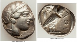 ATTICA. Athens. Ca. 440-404 BC. AR tetradrachm (26mm, 16.94 gm, 9h). Choice VF, test cuts. Mid-mass coinage issue. Head of Athena right, wearing crest...
