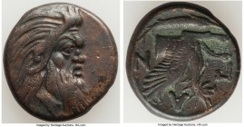 CIMMERIAN BOSPORUS. Panticapaeum. 4th century BC. AE (21mm, 6.87 gm, 12h). Choice VF. Head of bearded Pan right / Π-A-N, forepart of griffin left, stu...