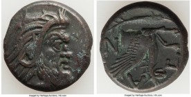CIMMERIAN BOSPORUS. Panticapaeum. 4th century BC. AE (21mm, 6.10 gm, 12h). Choice VF. Head of bearded Pan right / Π-A-N, forepart of griffin left, stu...