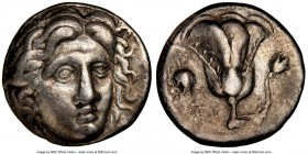 CARIAN ISLANDS. Rhodes. Ca. 305-275 BC. AR didrachm (18mm, 1h). NGC Choice VF. Head of Helios facing, turned slightly right, hair parted in center and...