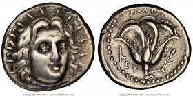 CARIAN ISLANDS. Rhodes. Ca. 250-205 BC. AR didrachm (20mm, 1h). NGC Choice VF, scratch. Ca. 250 BC. Radiate head of Helios facing, turned slightly rig...