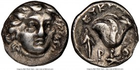 CARIAN ISLANDS. Rhodes. Ca. 230-205 BC. AR hemidrachm (11mm, 12h). NGC VF, edge chip. Eucrates, magistrate. Radiate head of Helios facing, turned slig...