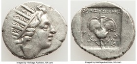 CARIAN ISLANDS. Rhodes. Ca. 88-84 BC. AR drachm (16mm, 2.82 gm, 12h). XF. Plinthophoric standard, Thrasymedes, magistrate. Radiate head of Helios righ...