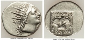 CARIAN ISLANDS. Rhodes. Ca. 88-84 BC. AR drachm (15mm, 2.43 gm, 12h). XF. Plinthophoric standard, Euphanes, magistrate. Radiate head of Helios right /...