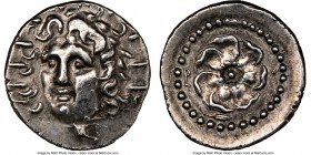 CARIAN ISLANDS. Rhodes. Ca. 84-30 BC. AR drachm (19mm, 12h). NGC Choice XF. Radiate head of Helios facing, turned slightly left, hair parted in center...
