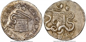 LYDIA. Sardes. Ca. 166-128 BC. AR cistophorus (27mm, 12.67gm, 12h). NGC AU 4/5 - 4/5. Ca. 160-150 BC. Serpent emerging from cista mystica; all within ...