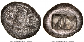 LYDIAN KINGDOM. Croesus (561-546 BC). AR half-stater or siglos (15mm). NGC VF. Sardes. Confronted foreparts of lion right and bull left, both with out...