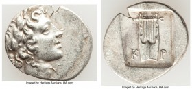 LYCIAN LEAGUE. Cragus. Ca. 48-20 BC. AR hemidrachm (16mm, 1.75 gm, 12h). AU. Series 1. Laureate head of Apollo right; Λ-Y below / K-P, cithara (lyre);...