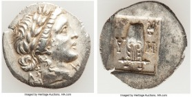 LYCIAN LEAGUE. Masicytes. Ca. 48-20 BC. AR hemidrachm (16mm, 1.75 gm, 12h). AU. Series 3. Laureate head of Apollo right; Λ-Y below / M-A, cithara (lyr...