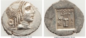 LYCIAN LEAGUE. Masicytes. Ca. 48-20 BC. AR hemidrachm (15mm, 1.81 gm, 12h). AU. Series 4. Head of Apollo right, wearing taenia / ΛΥΚΙΩΝ, cithara (lyre...