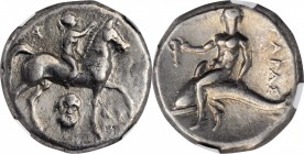 ITALY. Calabria. Tarentum. AR Nomos (6.39 gms), ca. 272-240 B.C. NGC EF, Strike: 4/5 Surface: 4/5.